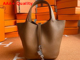 Hermes Picotin Lock 18 Bag in Tan Taurillon Clemence Leather Replica