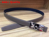 Hermes Rivale Belt in Grey Epsom Calfskin Leather Replica