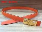 Hermes Rivale Belt in Orange Epsom Calfskin Leather Replica