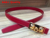 Hermes Rivale Belt in Red Epsom Calfskin Leather Replica