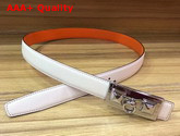 Hermes Rivale Belt in White Epsom Calfskin Leather Replica