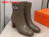 Hermes Saint Germain Ankle Boot in Smoked Brown Calfskin Replica