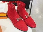 Hermes Saint Honore Ankle Boot in Rouge Piment Stretch Suede Goatskin with Palladium Plated H Detail Replica