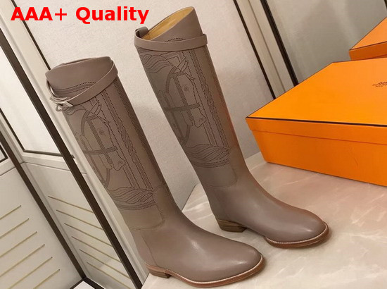 Hermes Variation Boot in Taupe Monochromatic Calfskin with Iconic Buckle Perfotated Horse Motif Replica