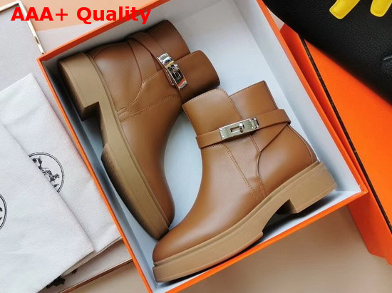 Hermes Veo Ankle Boot Tan Calfskin Replica