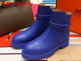 Hermes Veo Ankle Boot in Metallic Blue Calfskin Replica