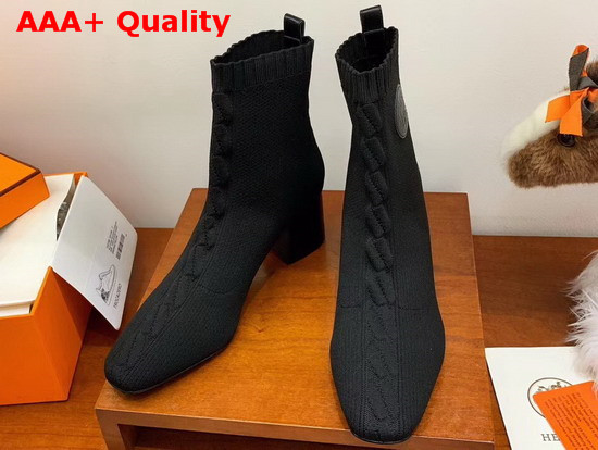 Hermes Volver 60 Ankle Boot Noir Knit with Clic Cest Noue Motif Replica