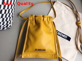 Jacquemus Le Pequeno Drawstring Leather Bag in Yellow Replica