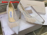 Jimmy Choo Love 85 Metallic Silver Glitter Fabric Pumps with Ivory Tulle Overlay Replica