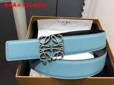 Loewe Anagram Belt 32cm Light Blue and Black Calfskin Replica