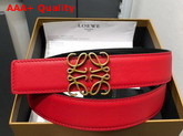 Loewe Anagram Belt 32cm Red and Black Calfskin Replica