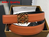 Loewe Anagram Belt 32cm Tan and Black Calfskin Replica