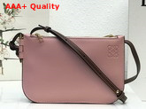 Loewe Gate Double Zip Pouch in Pink and Burgundy Smooth Calf Leather Replica