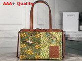 Loewe Paulas Cushion Tote Prints Green and Yellow Replica