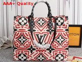LV Crafty Onthego GM Tote Bag Creme Rouge Monogram Giant Coated Canvas M45358 Replica