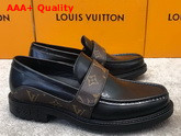 LV Derby Harness Loafer in Black Glazed Calf Leather and Monogram Canvas Replica