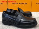 LV Derby Harness Loafer in Black Glazed Calf Leather and Monogram Eclipse Canvas 1A8JEQ Replica