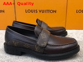 LV Derby Harness Loafer in Cognac Brown Glazed Calf Leather and Monogram Canvas 1A8JG8 Replica