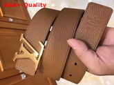 LV Initiales 40 mm Reversible Belt in Tan and Black Grained Calfskin Replica