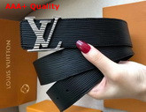 LV Initiales 40mm Belt Black Epi Calf Leather Silver Buckle with a Tonal Epi Motif Replica