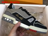 LV Trainer Sneaker Calf Leather Black Virgil Ablohs Louis Vuitton Script Signature on the Side 1A54H5 Replica