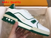 LV Trainer Sneaker White Calf Leather and Green Details 1A54HU Replica