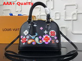 Louis Vuitton Alma BB Epi Black Printed and Embossed Epi Leather with Leather Patches and Studs M54836 Replica