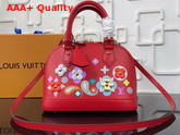 Louis Vuitton Alma BB Epi Red Printed and Embossed Epi Leather with Leather Patches and Studs Replica