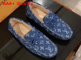 Louis Vuitton Arizona Moccasin in Navy Denim Monogram Canvas 1A4TTE Replica 1A4TTE