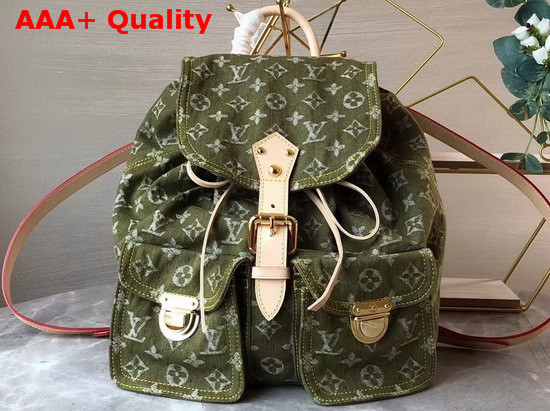 Louis Vuitton Backpack in Green Denim Monogram Canvas Replica