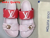 Louis Vuitton Bom Dia Flat Mule in Pink and Red Monogram Canvas Replica