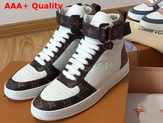 Louis Vuitton Boombox Sneaker Boot White Embossed Lamb Leather and Monogram Canvas Trim 1A5MWJ Replica