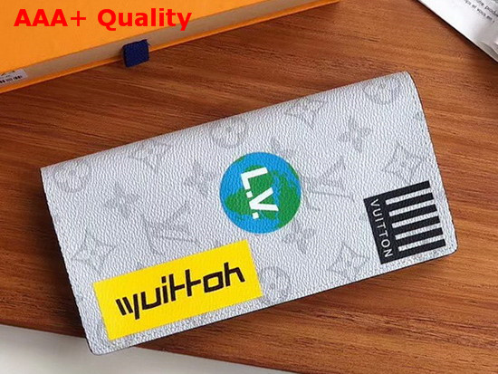 Louis Vuitton Brazza Wallet Monogram White Canvas with Printed Stickers M67822 Replica