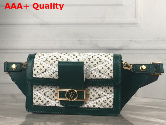 Louis Vuitton Bumbag Dauphine Denim Textile Printed Canvas with Green Calfskin Trim Replica