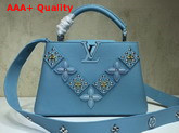 Louis Vuitton Capucines BB Sky Blue Taurillon Skin Alternate with Metal Studded Taiga Leather Patches Replica