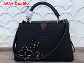 Louis Vuitton Capucines BB with Metallic and Leather Flowers Black Replica