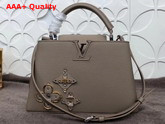 Louis Vuitton Capucines BB with Metallic and Leather Flowers Grey Replica