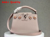 Louis Vuitton Capucines Mini Pink Taurillon Skin with Flowers in Satin Leather and Beads M54336 Replica