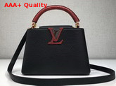 Louis Vuitton Capucines Mini in Black Taurillon Leather with Lizard Handle Replica