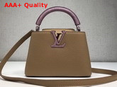 Louis Vuitton Capucines Mini with Lizard Handle Tan Grain Leather Replica