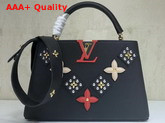 Louis Vuitton Capucines PM Black Taurillon Skin with Metal Studded Taiga Leather Patches M51384 Replica