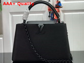 Louis Vuitton Capucines PM Handbag Black Taurillon Leather with Black Matte Hardware Replica