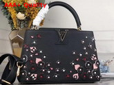 Louis Vuitton Capucines PM Handbag in Black Taurillon Leather Adorned with Flowers as Part of The LV Blooming Edition M53662 Replica