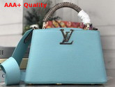 Louis Vuitton Capucines PM Handbag in Vert dEau Green Taurillon Leather and Python Leather Handle Replica