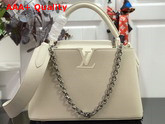 Louis Vuitton Capucines PM Handbag in White Taurillon Leather with White Matte Hardware Replica