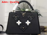 Louis Vuitton Capucines PM Noir Grained Taurillon Leather Embellished with Monogram Flowers M53850 Replica