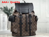 Louis Vuitton Christopher Backpack in Monogram Canvas and Crocodile Mat N93491 Replica
