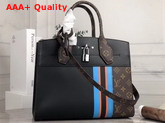 Louis Vuitton City Steamer MM Handbag in Black Calf Leather and Monogram Canvas with Vertical Blue Yellow and Black Stripes Replica