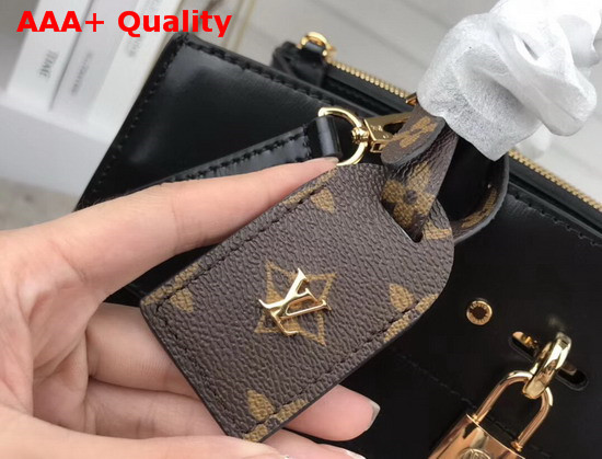 Louis Vuitton City Steamer MM Handbag in Black Calf Leather and Monogram Canvas with Vertical Cream and Yellow Stripes M55433 Replica