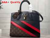 Louis Vuitton City Steamer MM Handbag in Navy Blue Calf Leather and Monogram Canvas with Diagonal Red and Black Stripes Replica